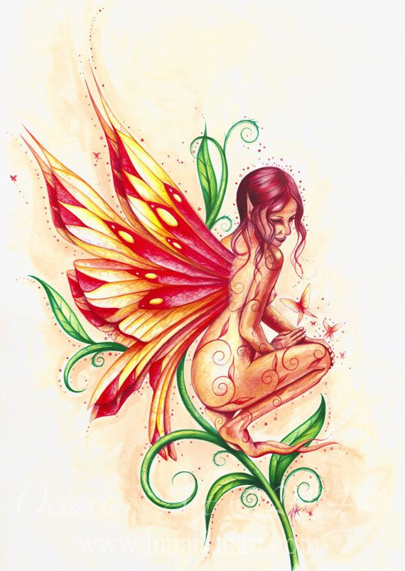 Fire Faerie Print by Lunarianart on Etsy, £4.99