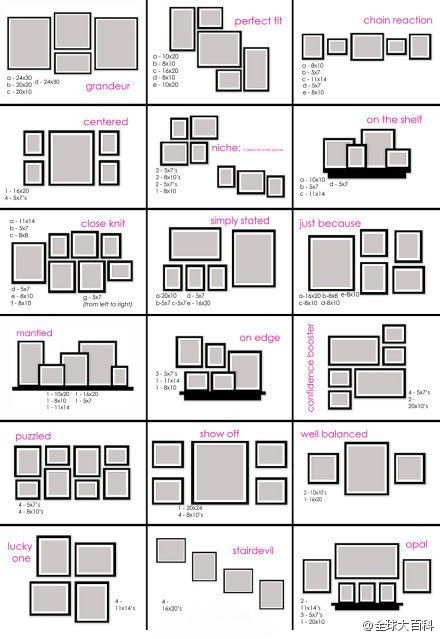 "not sure if i have posted this before or not, but picture frame arrangement ideas... I like ""puzzled"" and ""confidence booster"""