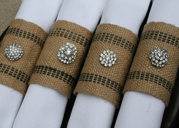 Burlap Napkin Rings - with a little bling  We have this ribbon, what a great idea...for the burlap wedding  Www.partyandbemarried.com
