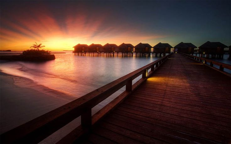 Sunset over the ocean in the Maldives