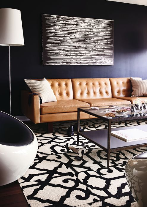 texture, patterns, simplicity in colors - golden leather couch adds warmth. love