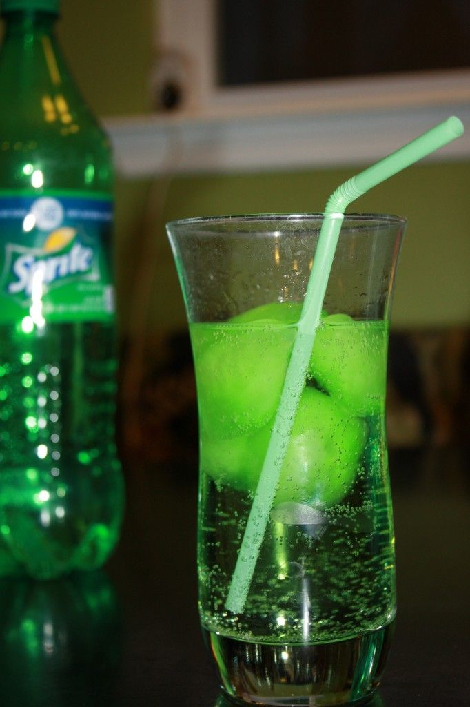 St. Patrick's Day drink for everyone! Sprite with green ice cubes made from Koolaid