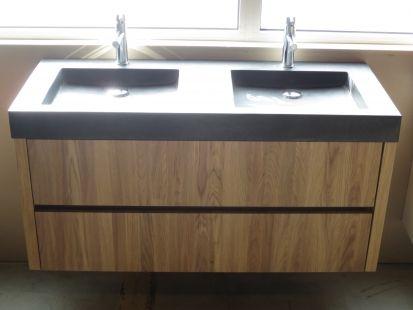 Eiken badkamermeubel 120cm Solid royal oak, diepte 50 cm graniet, gelakt hout