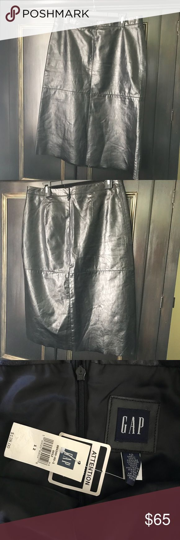 "NWT Gap leather midi skirt - lined fully leather Back when gap used to be high quality- this is quite the find - a new w tags Gap fully lined midi skirt - zipper closure - approx measurements 33"" waist 28"" length GAP Skirts Midi"