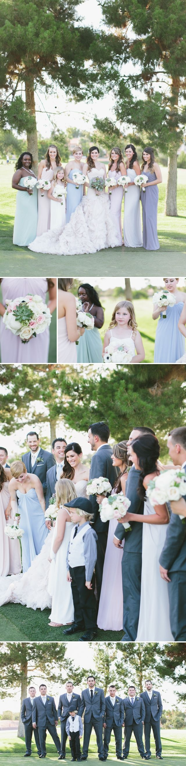 Canyon Gate Country Club Wedding | Meg Ruth Photo | Layers of Lovely | Succulent Bouquet | Pink wedding dress | Muted Bridesmaid Dresses | Different color Bridesmaid Dresses | Las Vegas Wedding