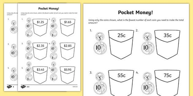 Pocket Money Activity Sheet - Year 2 Maths Mastery, Place Value, position, value, digit, number, amount, units, ones, tens, hundreds, 1c, 10c, dollars note, pence, pound, reason, justify, problem, solve, total, money