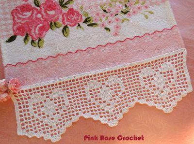 \ PINK ROSE CROCHET /: Barrado Coração em Crochê Filê