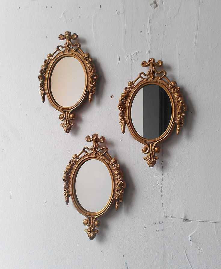 Gold Mirror Set In Small Decorative Vintage Frames Home Decor Wall Decor Wall Collage