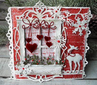 Vintage julekort med hjerter
