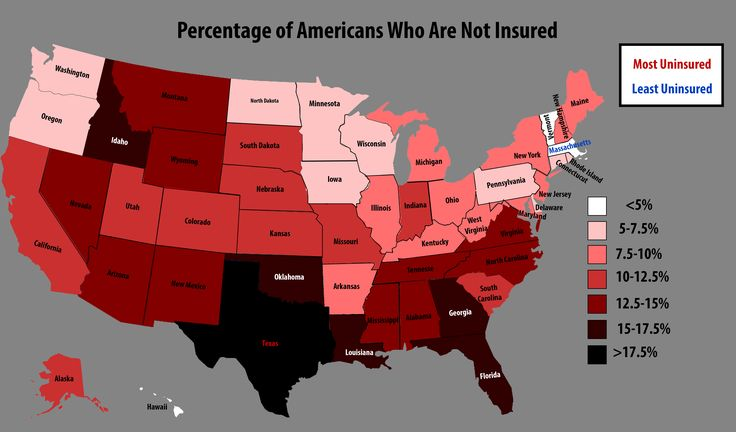 Percentage Of Americans Who Are Uninsured By State With Images