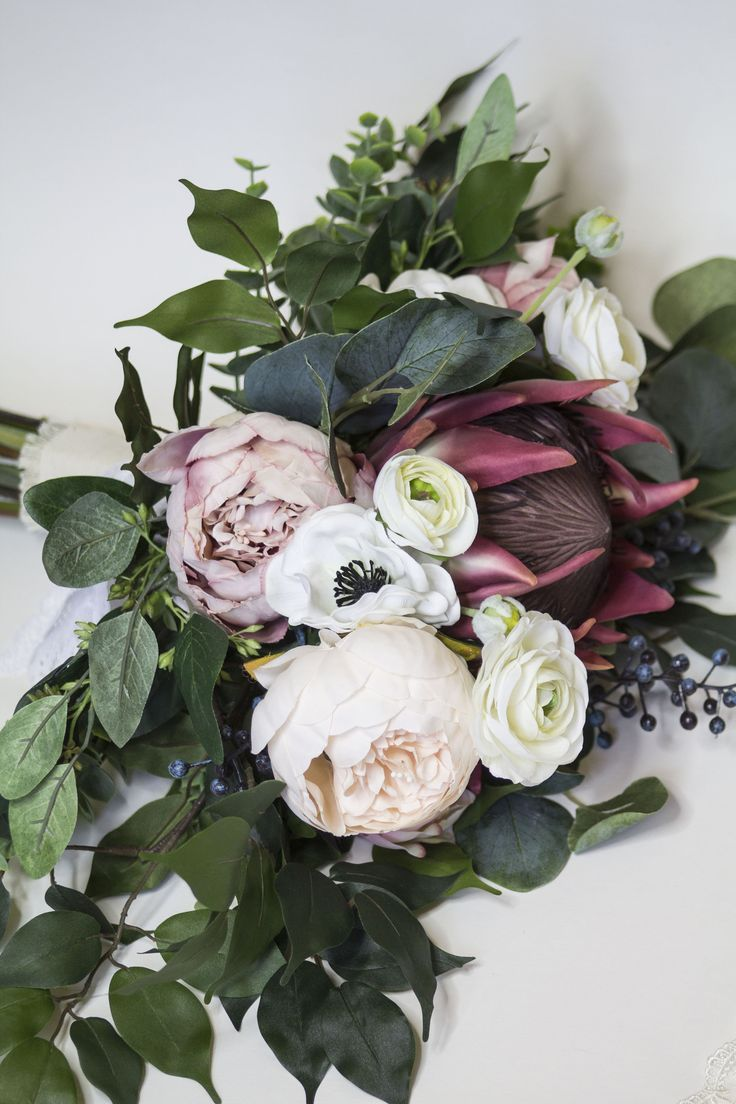 Protea Eucalyptus Bouquet Anemone And Peony Silk Flower Bouquet Artificial Flowers Pink Protea And Blue Berries Bohemian Bouquet In 2019 A Handmade W