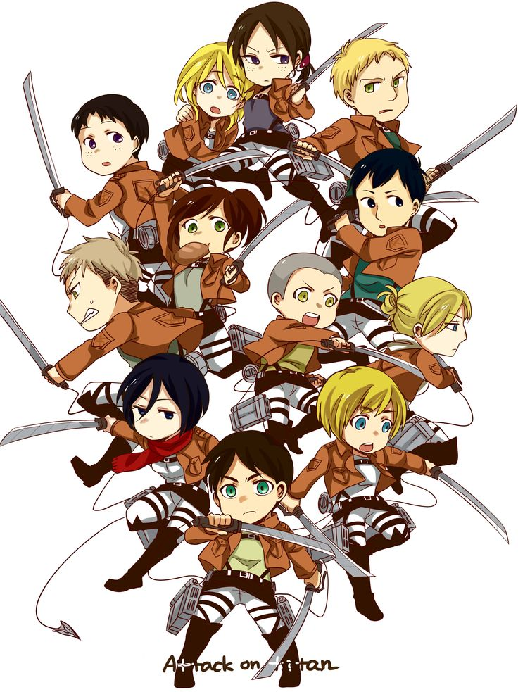 Chibi members of the 104th Trainee Squad (Attack on Titan