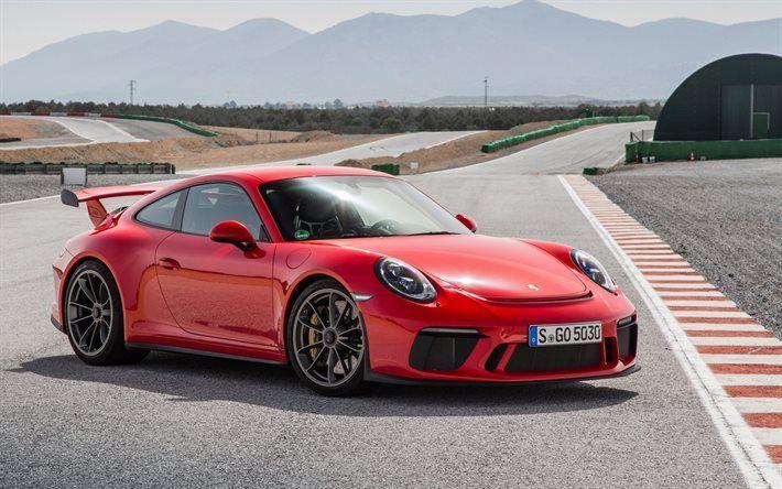 Porsche 911 GT3, 2017, Sports car, red porsche, sports coupe, Porsche