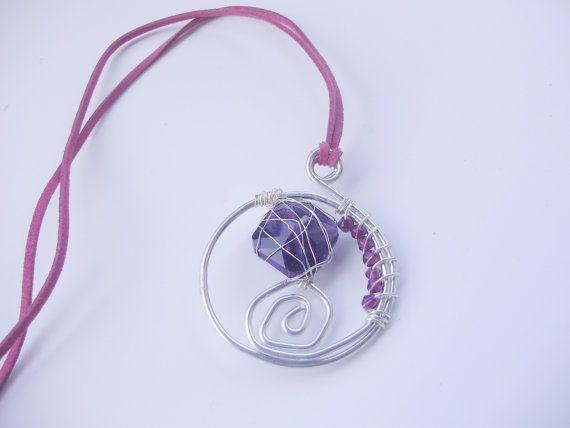 Collana/ciondolo spirali/perline e cristalli/filo di MarinellArt