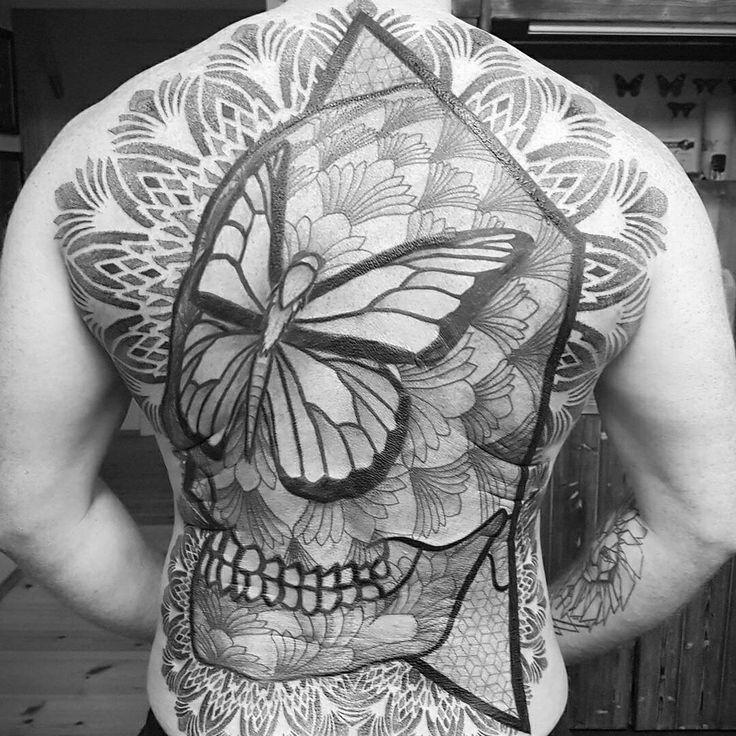 My #geometric back #tattoo / Ink completed by #dotstolines. #Blackwork. Skull tattoo. Mandala. Geometry. #Sacredgeometry.