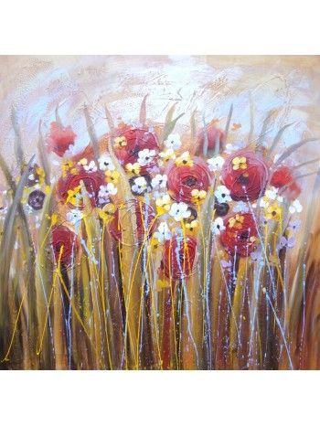 Quadro a olio su tela dipinto a mano. Stile floreale.