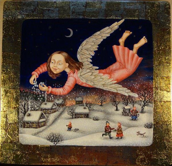 Gallery.ru / Укрывающий снегом - Дерево,темпера,лак - julia-yakusheva