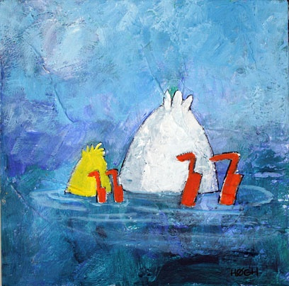 Mentoring, 30x30, acrylic on canvas. By Svend Høgh © 2012.  These ducks seems to keep popping up, when I paint ... ;-)