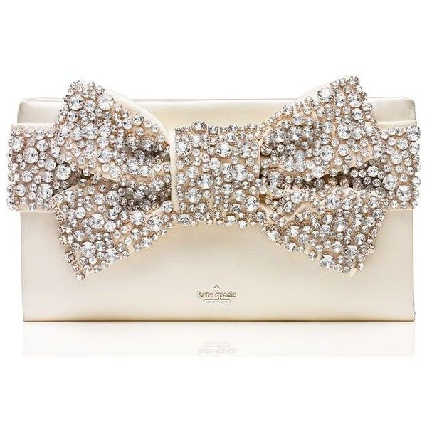 Kate Spade Wedding Belles Lucinda (810 AUD) ❤ liked on Polyvore featuring bags, handbags, clutches, bow purse, kate spade, bow handbag, long purses and kate spade clutches