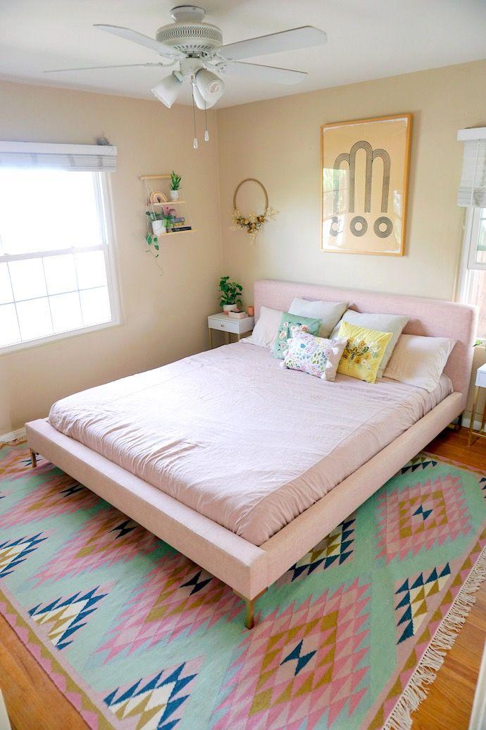 Sam S Colorful Springtime Bedroom Refresh Upholstered Bed Frame