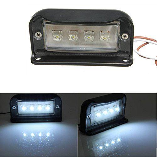 AUDEW 8*3.9CM Lampe de Plaque d'Immatriculation 4LED Étanche pour Camion Remorque Auto Lumière DC 10-30V (Blanche Lumière): Spécifications:…