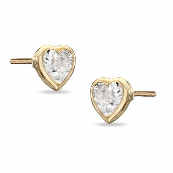 Child S 4mm Heart Shaped Cubic Zirconia Stud Earrings In 10k Gold Piercing Pagoda In 2020 Stud Earrings Heart Shaped Earrings Earrings