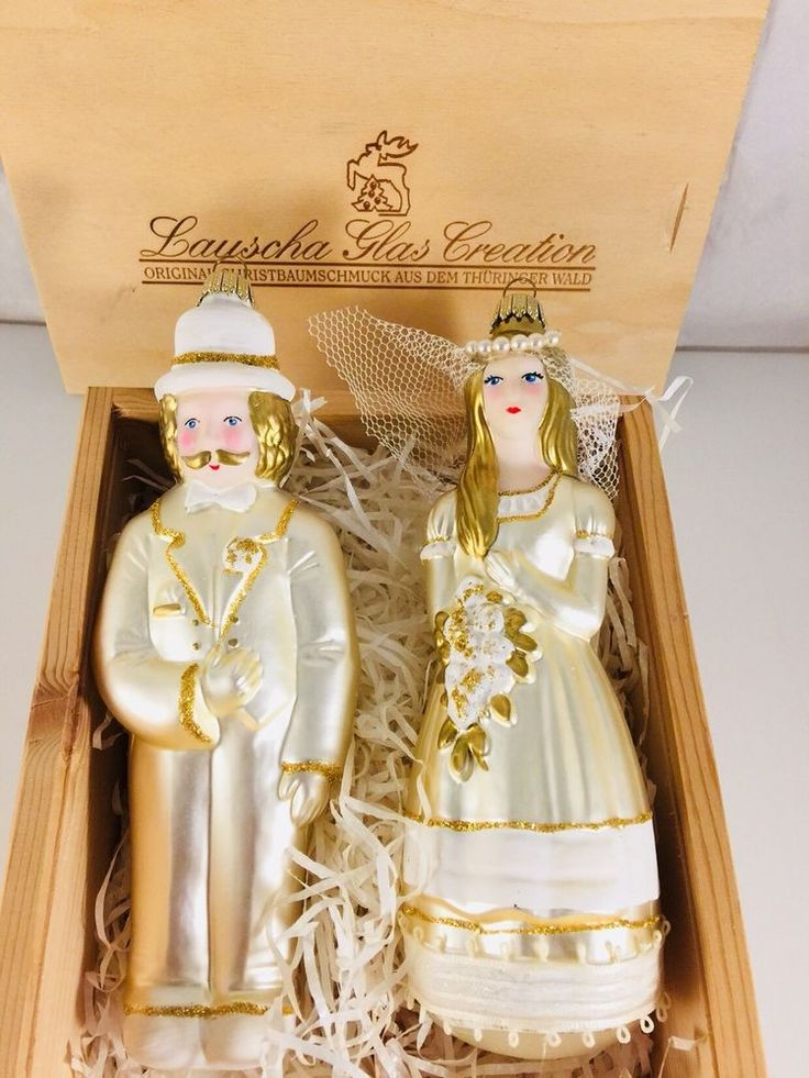 Bride And Groom Glass Ornaments By Lauscha Glas Creation In Original Wood Crate    eBay
