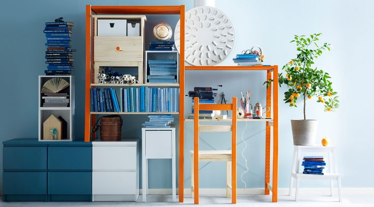 Love this mix 'n match workspace consisting of shelving units, bedside table and chest of drawers....