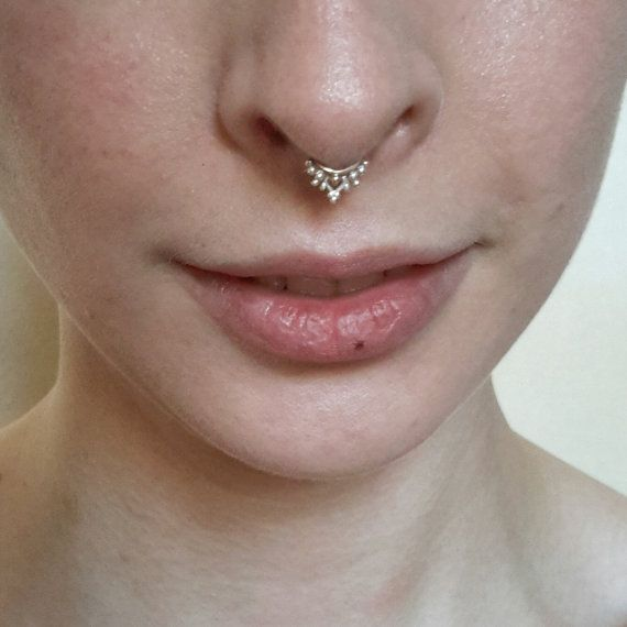 Ornate Gold and Silver Septum Ring - indian septum jewelry, boho helix ring, nose ring, tragus ring, nickel free