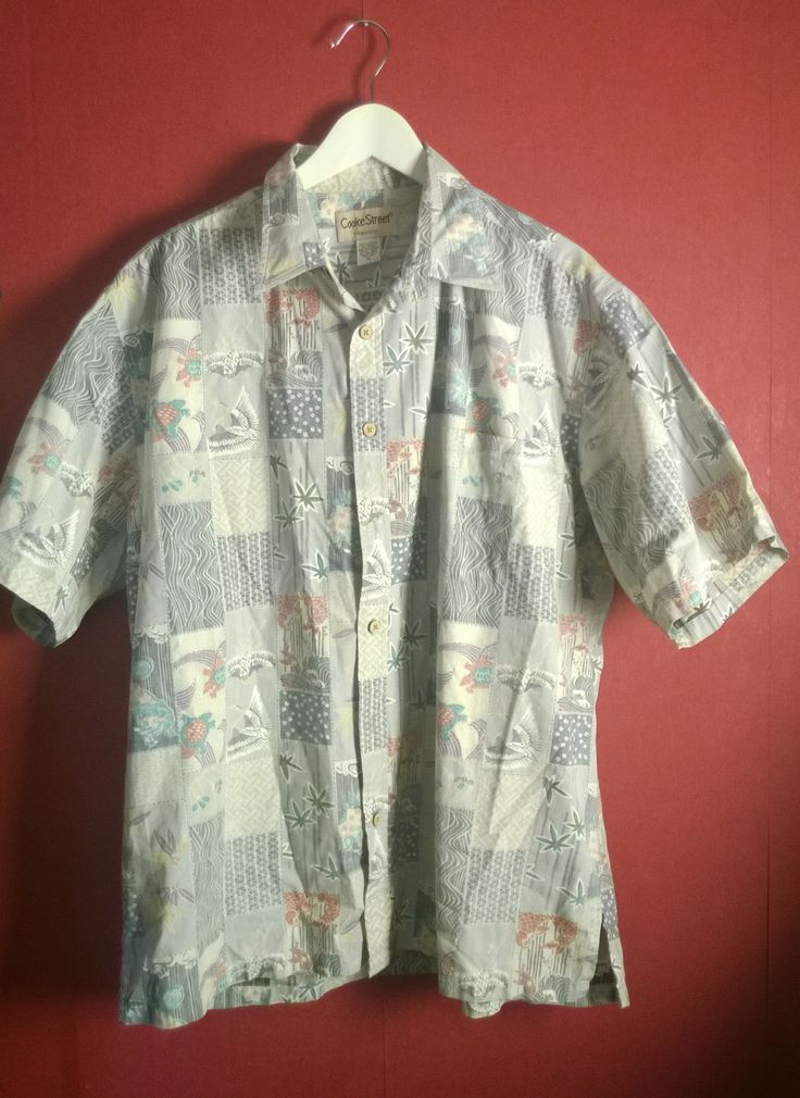 Vintage 90s Shirt Hawaii Pastel VINTAGE 90s Shirt Mens Printed Shirt Patterned Shortsleeve Button Up ShirtSize XL Honolulu Tropical resort by VirtageVintage on Etsy