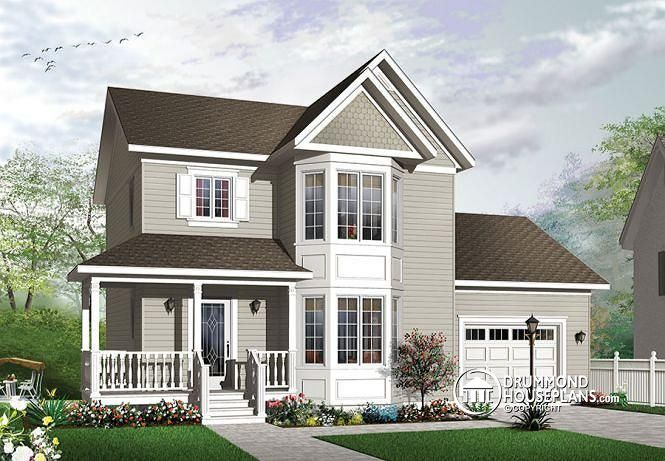 W3851 v1 victorian style affordable home with master for Affordable garage plans