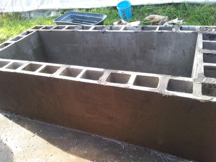 Cinder block pond build jaspie pinterest for Building a koi pond