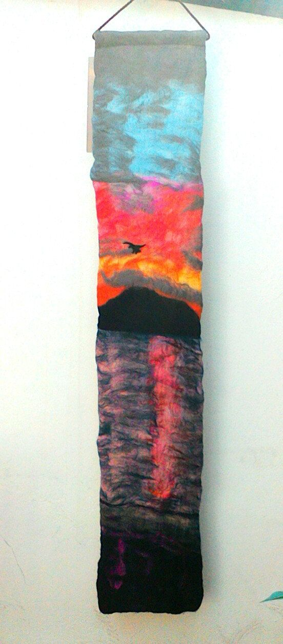 5ft long Irish scene  felted wall hanging  by FlowerfeltbyJayne