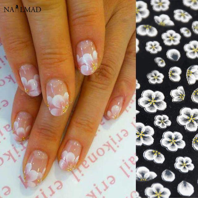1 Sheet Flower Nail Art Stickers White Lace Nail Sticker Acrylic