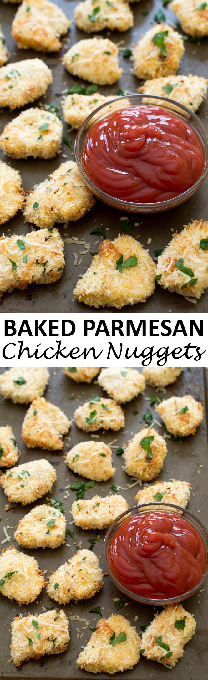 Super Crispy Baked Parmesan Garlic Chicken Nuggets. Breaded in panko breadcrumbs and Parmesan cheese and baked until golden brown and crispy. Wonderful as an appetizer or for dinner! | chefsavvy.com #recipe #chicken #nuggets