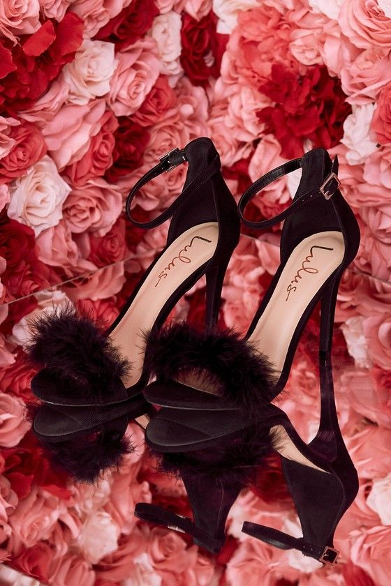 7aa11e154 Valentina Black Feather Ankle Strap Heels in 2019 | 27. shoes ...