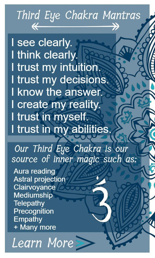 Our third eye chakra is our sixth sense, if you will. It is the center of our intuition and wisdom. Sanskrit Name: Ajna (command) Location: Forehead (generally speaking) Color: Indigo Element: All Just like animals can sense changes in the environment that we can't, such as earthquakes and weather changes, we have the ability to sense things that are not apparent or obvious. In the past, we needed this intuition to be aware of our surroundings and predict potential threats to survive. As…