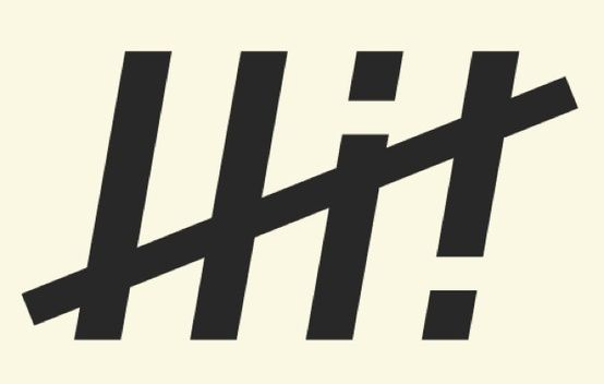 """I'm not sure if this is an actual logo or just an interesting graphic, but its clever and visually pleasing. Its a clean and simple design, that at first glance just looks like a tally mark symbol. Then the i and ! become evident, and the message """"hi (high) 5!"""" becomes obvious. This could be replicated in a hand rendered font and it would still work, but the sleek lines in the chosen font make it a sleek design."""