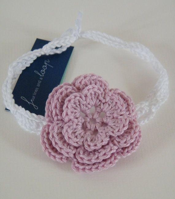 Baby flower headband crochet newborn  two by fourlinesandaloop, £3.00