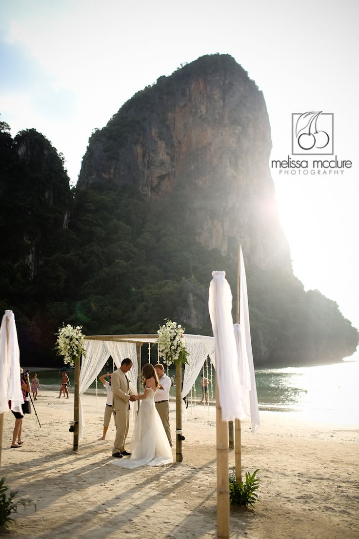 melissamcclure.com  Thailand destination wedding, beach ceremony, Railay Bay, Krabi