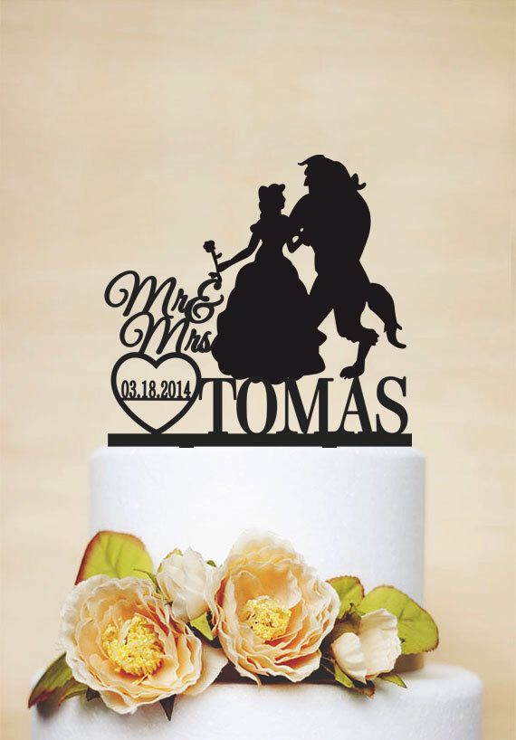 Mr & Mrs Cake Topper With Last Name,Beauty And Beast,Custom Cake Topper,Disney Style Cake Topper,Unique Cake Topper- c059 by AcrylicDesignForYou on Etsy https://www.etsy.com/listing/233746534/mr-mrs-cake-topper-with-last-namebeauty