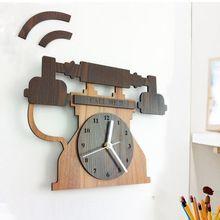 creativo orologio da parete design moderno decorazione della casa telefono antico orologi in legno(China (Mainland))