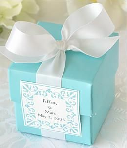 Breakfast at tiffany's engagement party favors