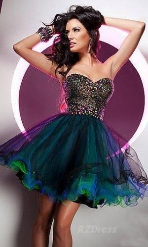 Stylish short strapless prom dress 2014 with green-blue tulle skirt