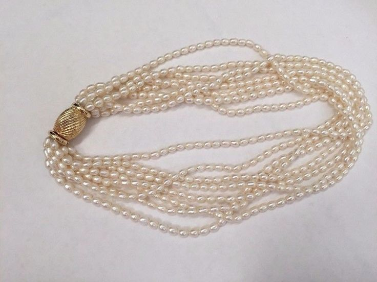 Vintage 14K Gold 8 Strand Genuine Freshwater Seed Pearl Necklace 585 Xmas Gift