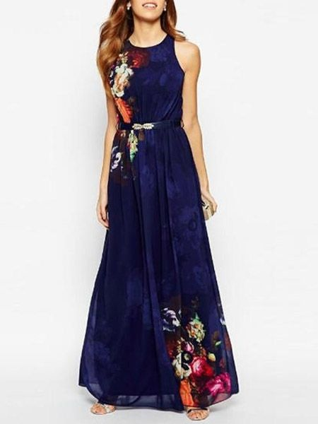 Printed Bohemia Absorbing Round Neck Maxi Dress