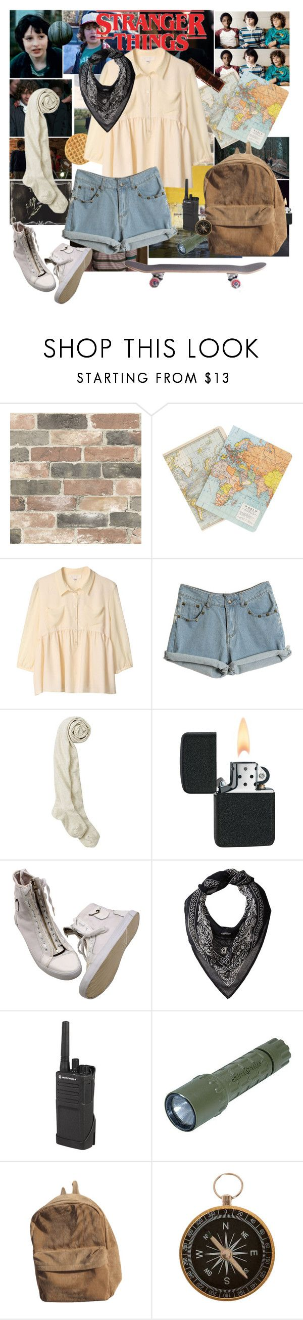"""⓸┇Fandom┇Stranger Things☏"" by fandom-666 ❤ liked on Polyvore featuring Wall Pops!, Paul Frank, Cavallini & Co., Chan Luu, Motorola, Clips, Will, Mike, Dustin and locas"