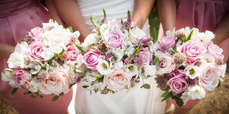 Dusky pink wedding bouquets