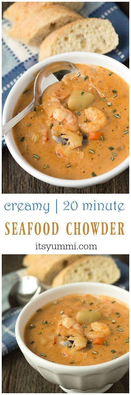 This creamy seafood chowder recipe begins with an easy-to-make homemade seafood stock. Potatoes, shrimp, crab, and lobster meat are added. via /itsyummi/