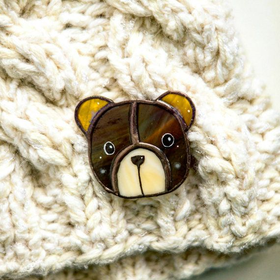 Check out this item in my Etsy shop https://www.etsy.com/ru/listing/498317091/bear-brooch-brown-glass-stained-glass